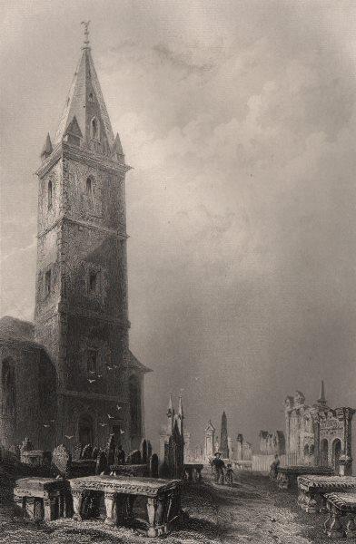 St Michaels. Greyfriars churchyard, Dumfries. Robert Burns grave. BARTLETT c1840