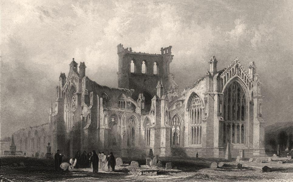 Associate Product Melrose Abbey. Roxburghshire. Scotland. ALLOM c1840 old antique print picture