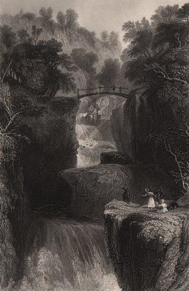 Associate Product Bracklinn Falls Bridge, near Callander, Perthshire. Scotland. ALLOM c1840