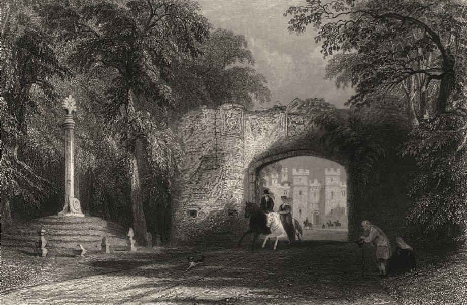 Associate Product Market cross and Palace Gate, Scone. Perthshire. Scotland. ALLOM c1840 print