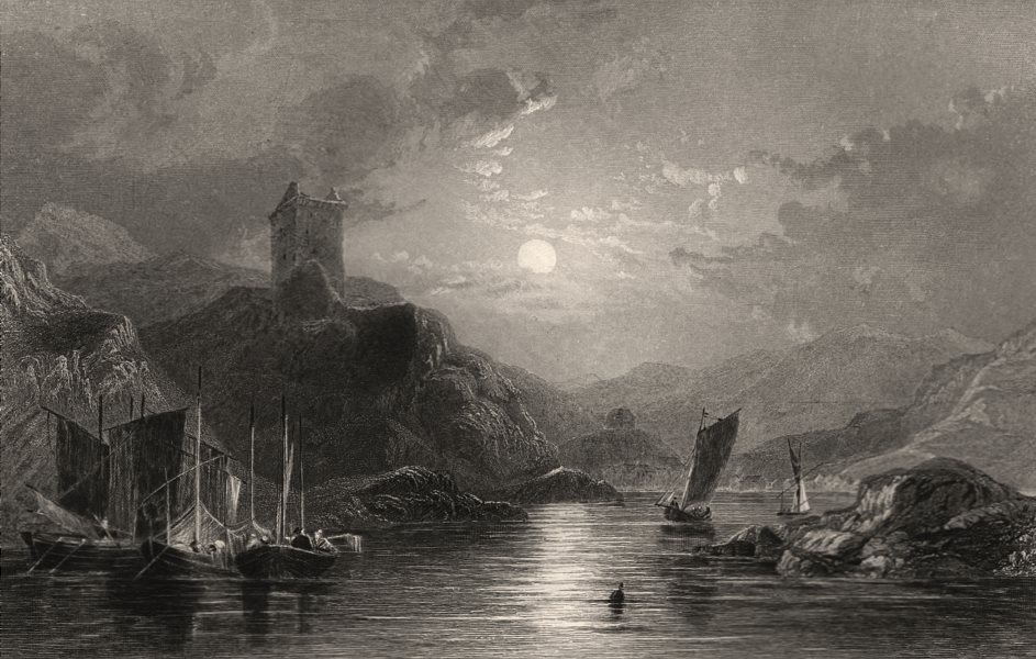 Associate Product Tarbet, from Loch Fyne, looking west. Argyllshire. Scotland. ALLOM c1840 print
