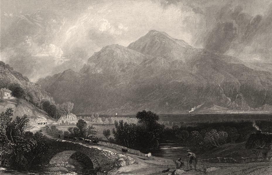 Ben Lomond from Inveruglas. Dunbartonshire. Scotland. ALLOM c1840 old print