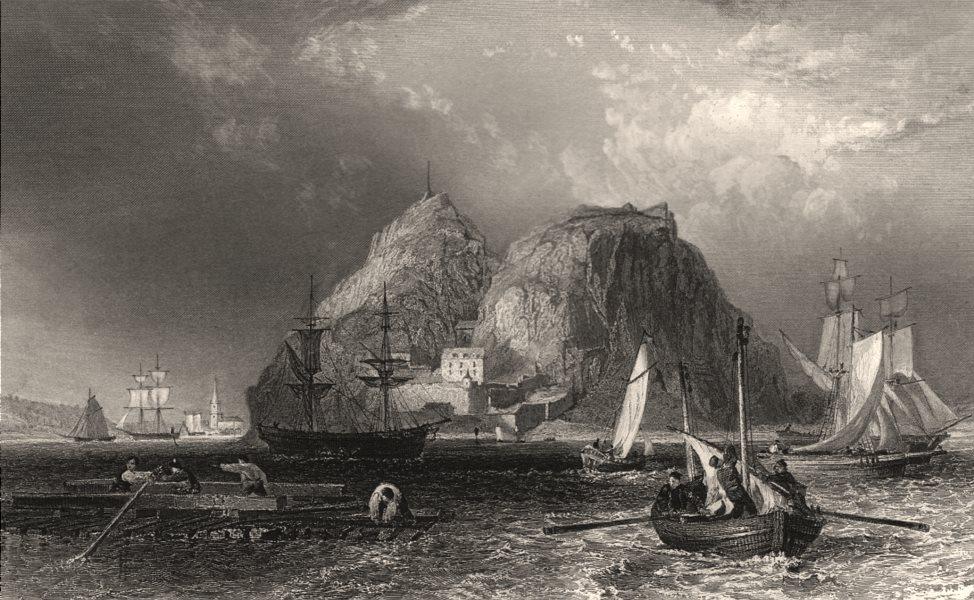 Associate Product Dumbarton Castle on the Clyde. Dunbartonshire. Scotland. ALLOM c1840 old print
