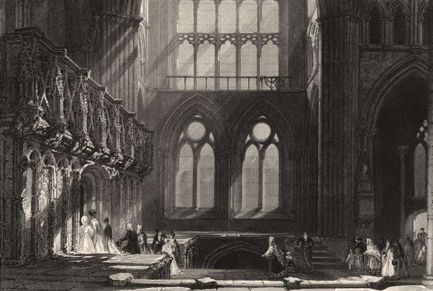 Associate Product Glasgow Cathedral or High Kirk, Lanarkshire. Scotland. ALLOM c1840 old print