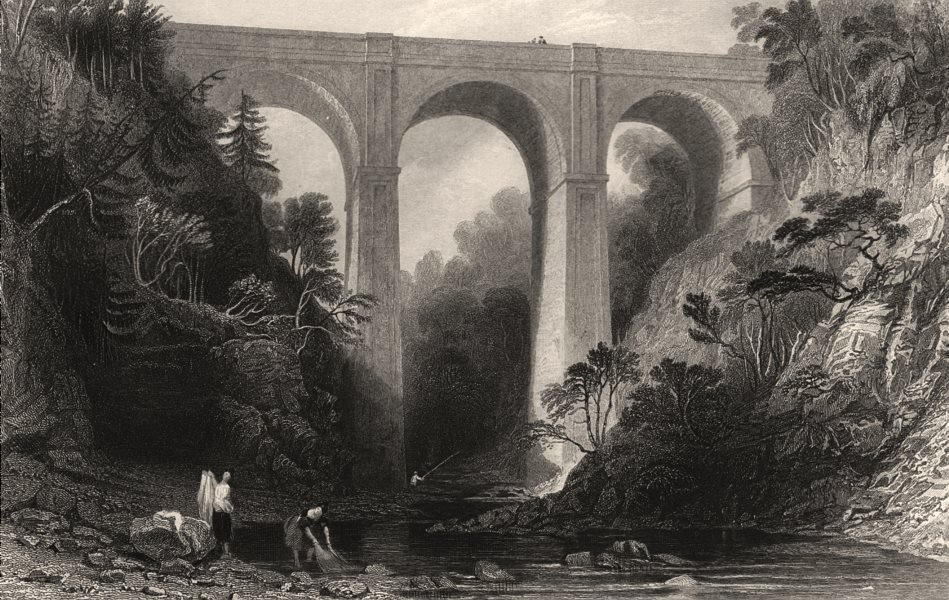 Associate Product Cartlane Crags Bridge. Lanarkshire. Cartland Craigs, Scotland. ALLOM c1840