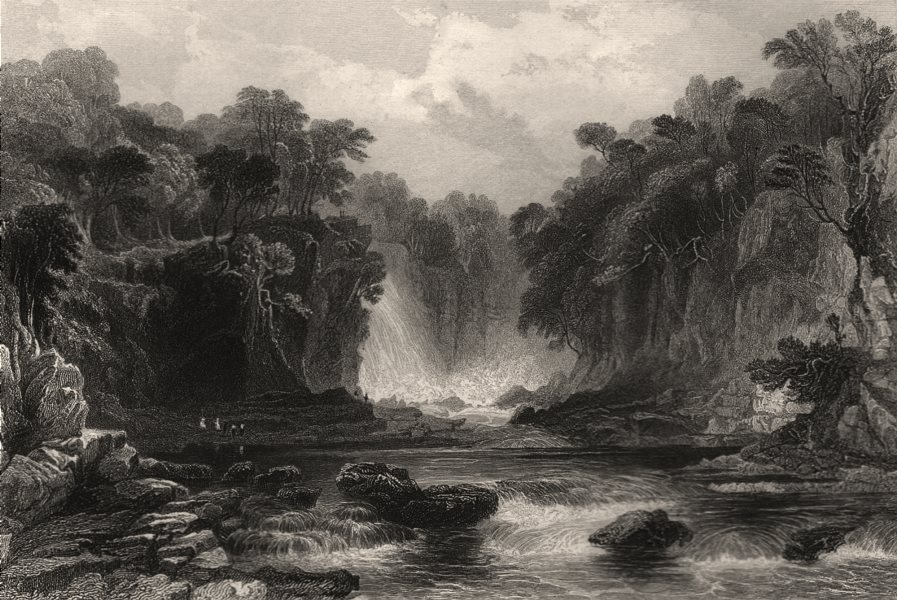 Associate Product Bonniton Lynn, on the River Clyde. Bonnington Linn. Scotland. ALLOM c1840
