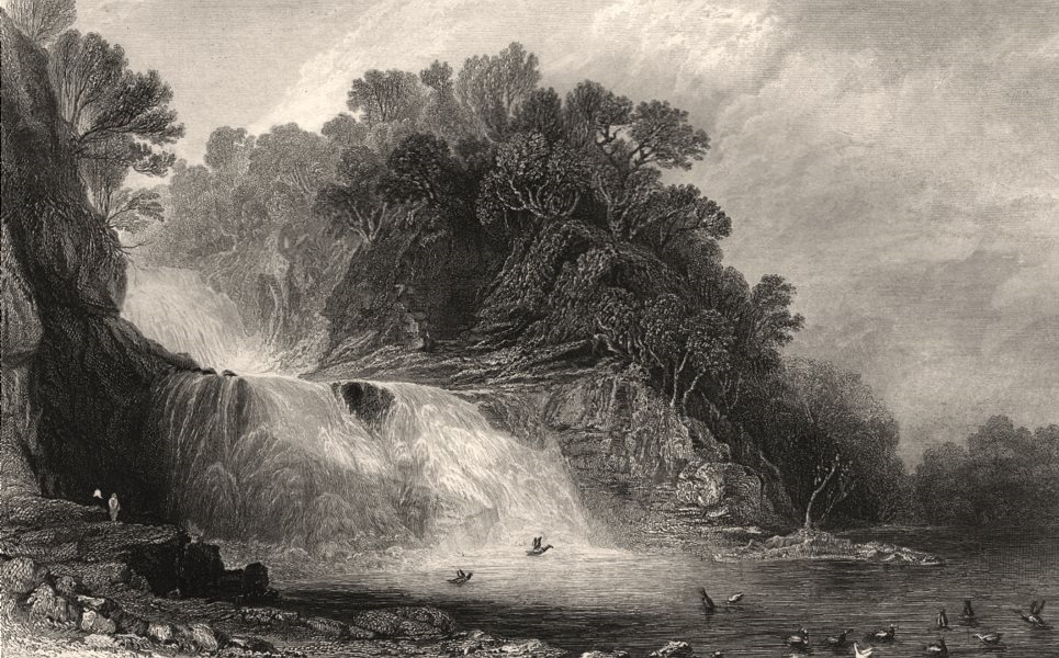Associate Product Corra Lynn. Falls of the Clyde, Lanarkshire. Corra Linn. Scotland. ALLOM c1840