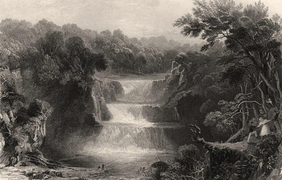 Associate Product Stonebyres Linn, Third Falls of the Clyde. Lanarkshire. Scotland. ALLOM c1840