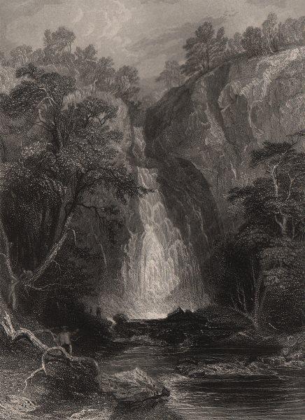 Associate Product Cauldron Linn, River Devon falls. Perthshire. Scotland. ALLOM c1840 old print