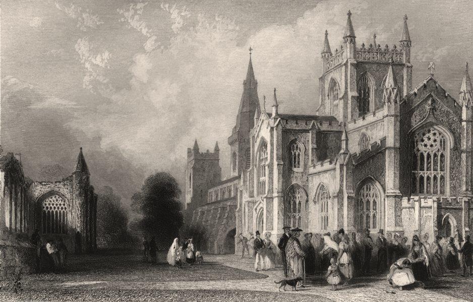 The New Church and Abbey, Dunfermline. Fifeshire. Scotland. ALLOM c1840 print