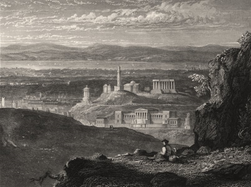 Associate Product Edinburgh from the neighbourhood of Arthur's Seat. Scotland. KEMP 1868 print