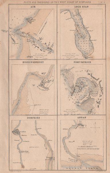 Associate Product SCOTLAND PORTS Ayr Loch Ryan Kirkcudbright Port Partick Dumfries Annan 1868 map
