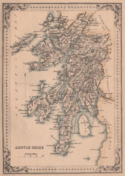 Associate Product Decorative antique county map of Argyleshire. Argyll. FULLARTON 1868 old