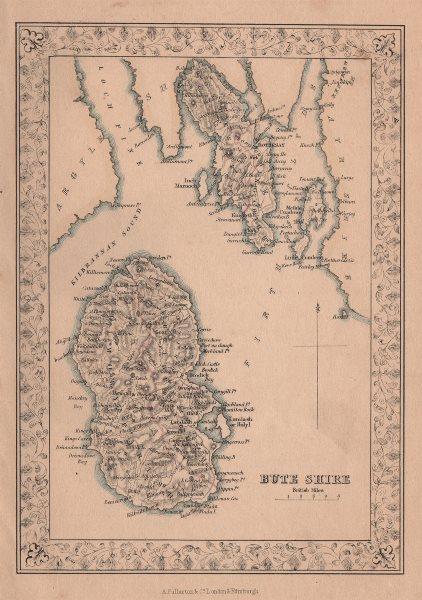 Decorative antique county map of Buteshire, Scotland. FULLARTON 1868 old