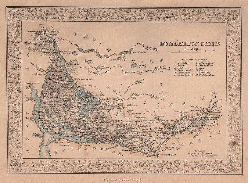 Associate Product Decorative antique county map of Dunbartonshire. FULLARTON 1868 old