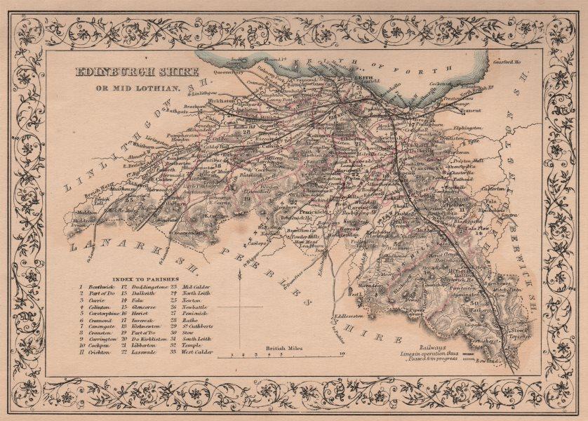 Associate Product Antique county map of Edinburghshire or Midlothian. FULLARTON 1868 old