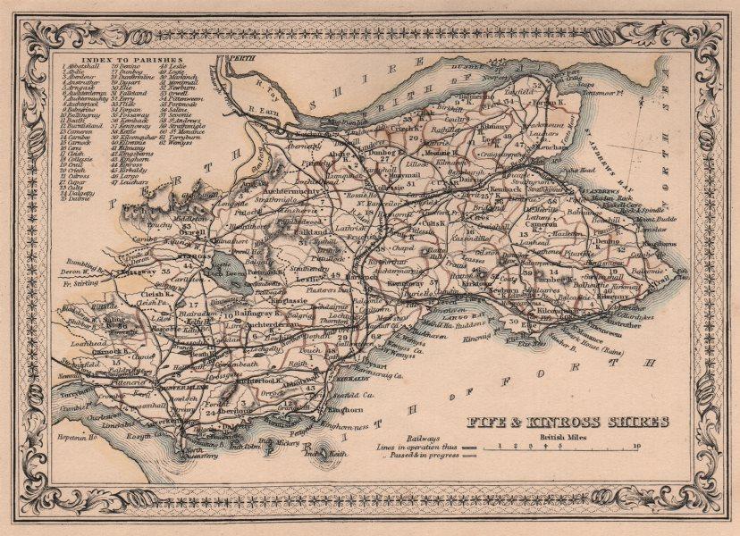 Associate Product Decorative antique county map of Fifeshire & Kinross-shire. FULLARTON 1868