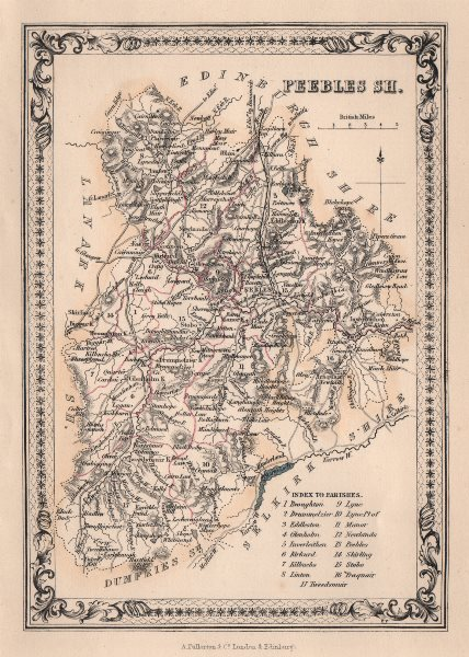 Associate Product Decorative antique county map of Peeblesshire, Scotland. FULLARTON 1868