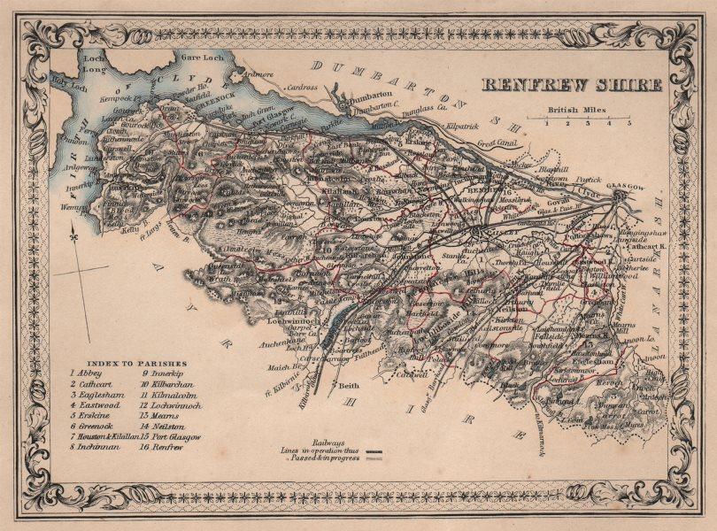 Associate Product Decorative antique county map of Renfrewshire, Scotland. FULLARTON 1868