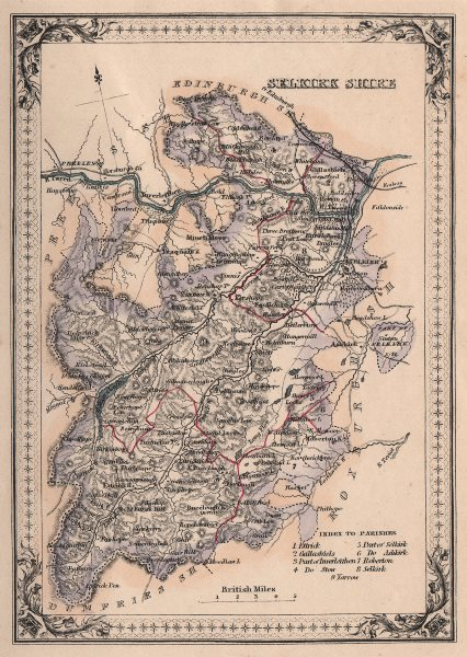 Associate Product Decorative antique county map of Selkirkshire, Scotland. FULLARTON 1868