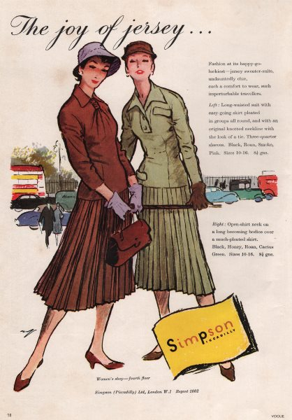 Associate Product The Joy of Jersey. Simpson, Piccadilly. Jersey sweater-suit. Fashion advert 1955