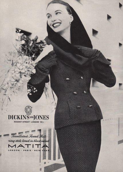 Matita. Dickins & Jones. Tessellated Tweed suit. Ring stole. Fashion advert 1955
