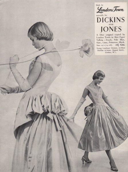 Associate Product London Town. Dickins & Jones. Dior. Shot Paper Taffeta. Fashion advert 1955