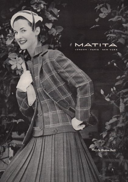 Associate Product Matita - London Paris New York. Hat by Madam Brill. Fashion advert 1955 print
