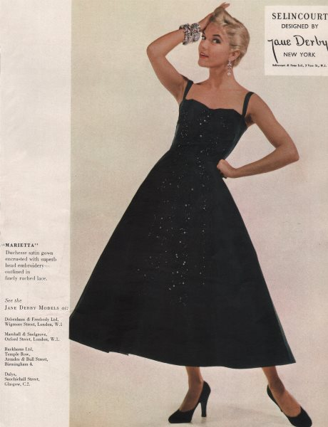 Associate Product Selincourt designed by Jane Derby, New York. Fashion advert. BRITISH VOGUE 1955