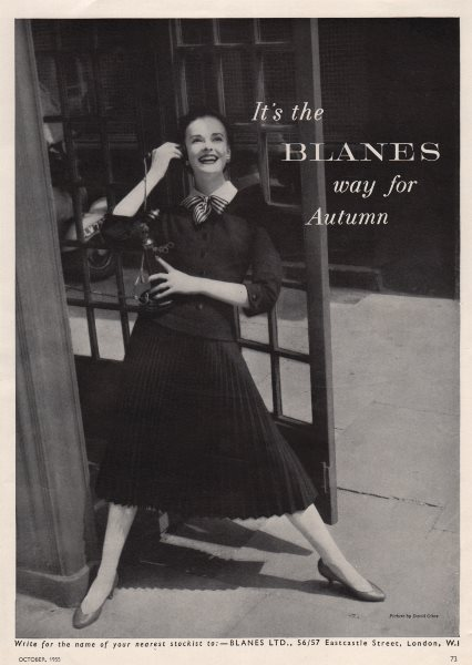 Associate Product It's the Blanes way for Autumn. Fashion advert. BRITISH VOGUE 1955 old print