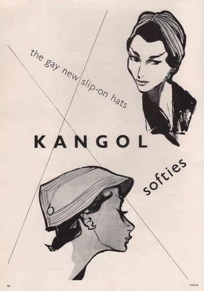Associate Product Kangol softies. The gay new slip-on hats. Fashion advert. BRITISH VOGUE 1955
