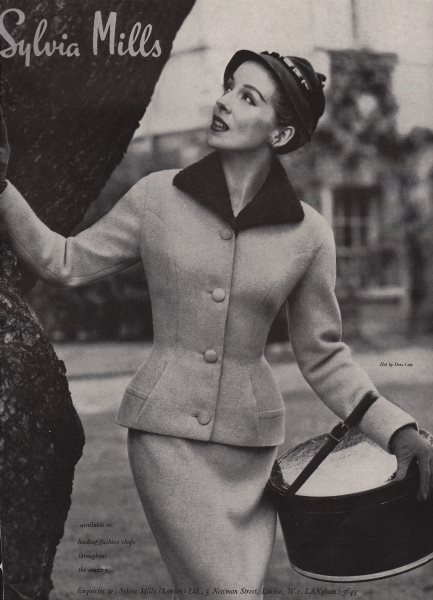 Associate Product Sylvia Mills. Fashion advert. BRITISH VOGUE 1955 old vintage print picture