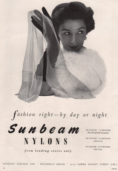 Associate Product Sunbeam Nylons. Fashion right - by day or night. Advert. BRITISH VOGUE 1955