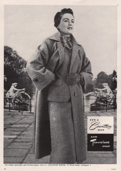 Associate Product It's a Countess suit and Traveluxe Coat. Fashion advert. BRITISH VOGUE 1955