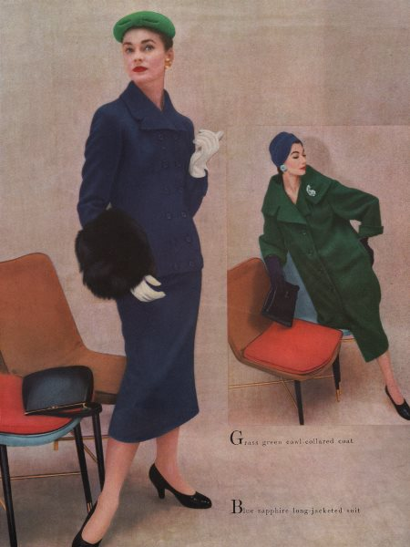 Associate Product Grass green cowl-collared coat; Blue sapphire suit. Fashion. BRITISH VOGUE 1955