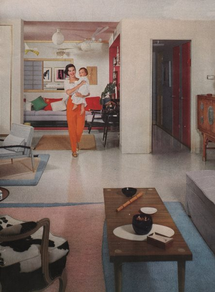 Associate Product 1950's household. Mother and child. Fashion. BRITISH VOGUE 1955 print