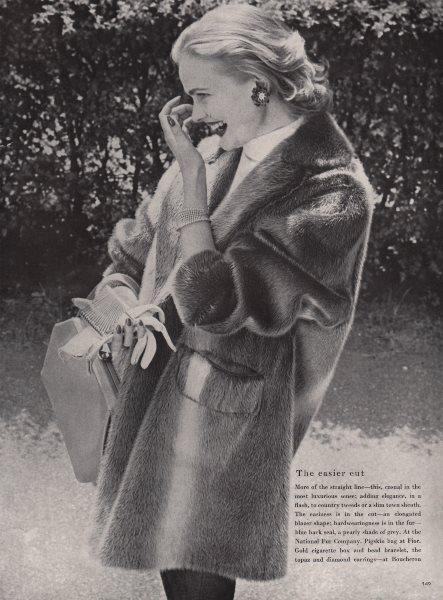 Associate Product The easier cut. Blue black seal fur. Fashion. BRITISH VOGUE 1955 old print