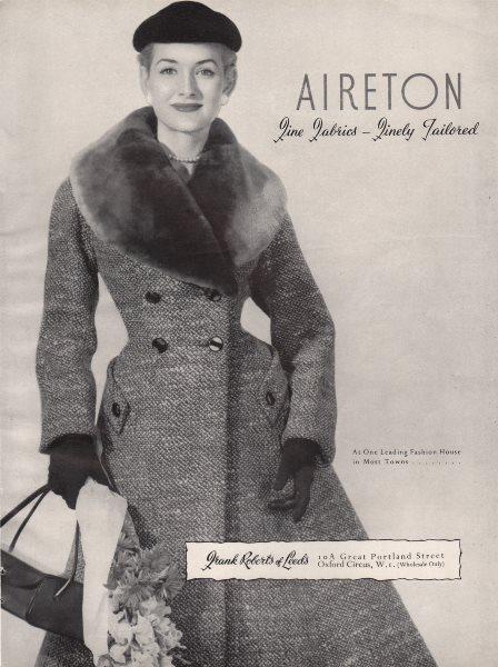 Associate Product Aireton. Fine Fabrics finely tailored. Frank Roberts, Leeds. Fashion advert 1955