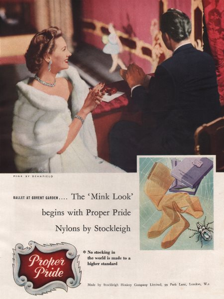Associate Product The Mink Look begins with Proper Pride Nylons by Stockleigh. Fashion advert 1955
