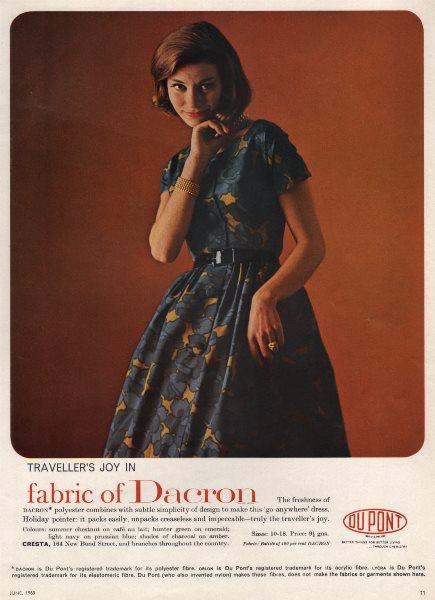 Associate Product Traveller's Joy in fabric of Dacron. Dupont. Fashion advert. BRITISH VOGUE 1963