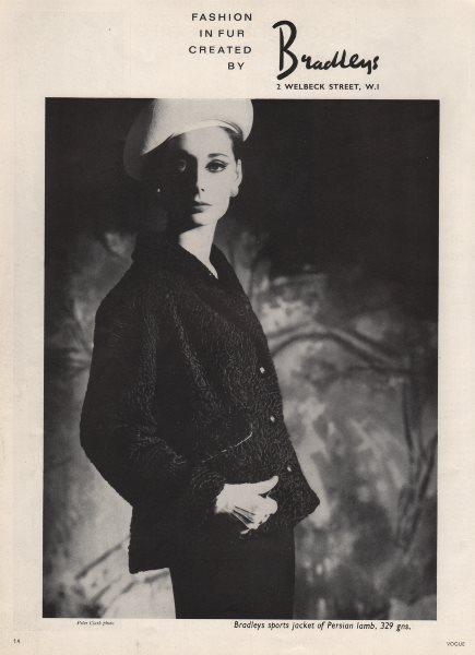 Associate Product Fashion in fur created by Bradleys. Persian lamb sports jacket. Advert 1963