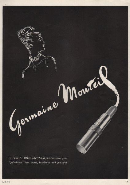 Associate Product Germaine Montiel. Super-lumium lipstick puts 'satin on your lips'. Advert 1963