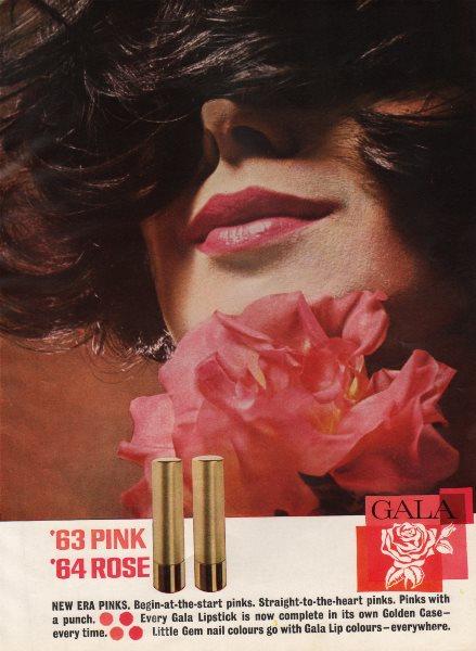 Associate Product Gala lipstick. '63 Pink; '64 Rose. New Era Pinks. Advert. BRITISH VOGUE 1963