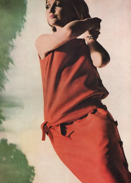 Associate Product Buttoned linen shift, coral, by Fredrica Starke. Fashion. BRITISH VOGUE 1963