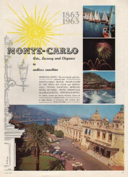 "Associate Product Monte-Carlo. ""Arts, Luxury and Elegance in endless sunshine"". Monaco advert 1963"