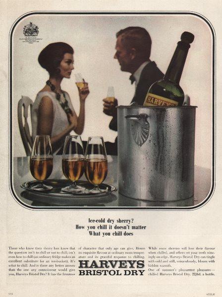 Associate Product Harveys Bristol Dry sherry. Food advert. BRITISH VOGUE 1963 old vintage print