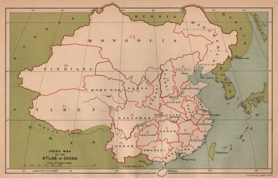 Associate Product Index map to the Atlas of China. STANFORD 1908 old antique plan chart