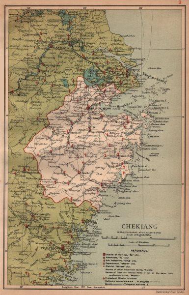 Associate Product Chekiang (Zhejiang) China province map. Hangchow (Hangzhou). STANFORD 1908