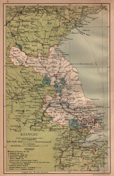 Associate Product Kiangsu (Jiangsu) China province map. Shanghai Suzhou Nanjing. STANFORD 1908