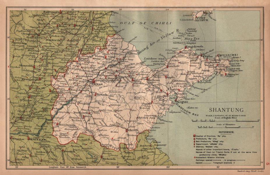 Associate Product Shantung (Shandong) China province map. Tsinan (Jinan). STANFORD 1908 old